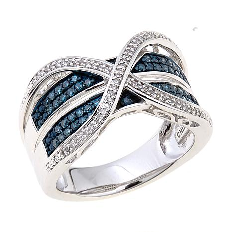 "0.33ctw Blue and White Diamond ""X"" Band Ring"