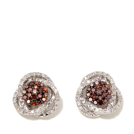 0.33ctw Colored and White Diamond Sterling Silver Stud Earrings