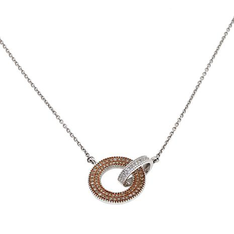 0.39ctw Colored and White Diamond Interlocking Necklace