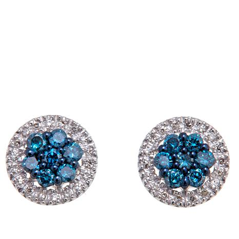 0 40ctw Colored And White Diamond Sterling Silver Stud Earrings