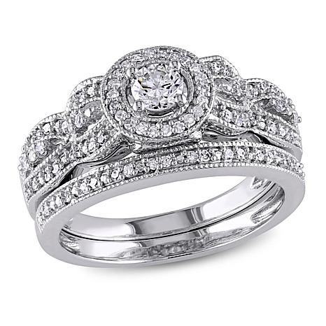 0.49ctw Engagement Ring and Wedding Band 10K Gold Set