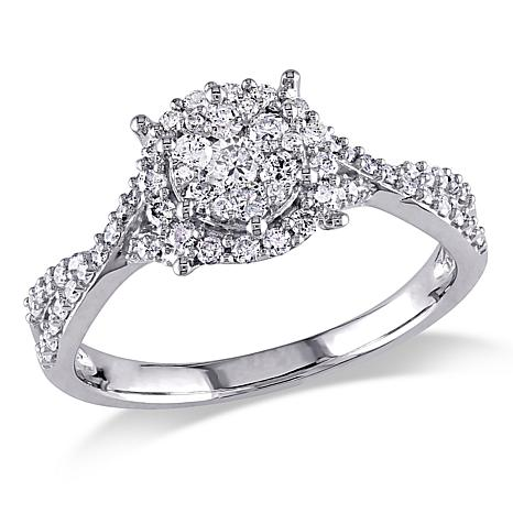 0.5ctw  White Diamond 10K White Gold Halo Ring