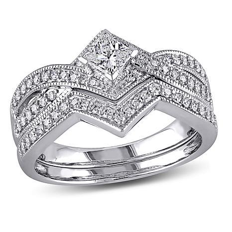 0.63ctw Diamond 14K White Gold 2-Ring Bridal Set