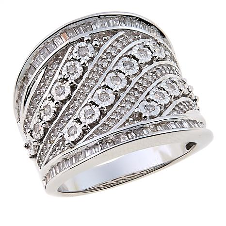 0.75ctw White Diamond Sterling Silver Cigar Band Ring