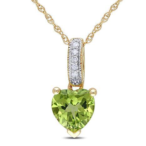 0.86ctw Peridot and Diamond 10K Gold Heart Pendant