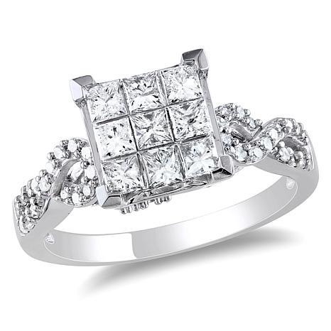 0.99ctw Princess and Round White Diamond 10K Ring