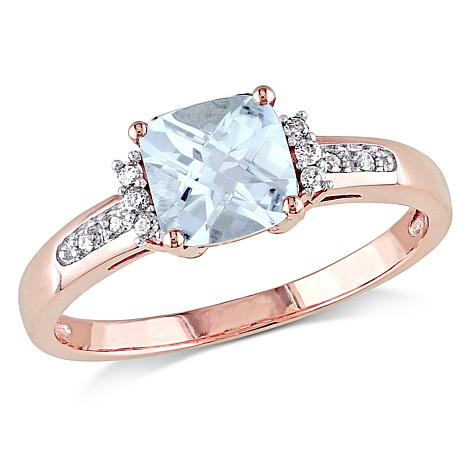 0.9ctw Aquamarine and White Diamond 10K Rose Gold Ring