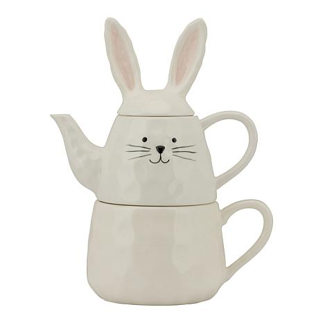 10 Strawberry Street Organic Bunny Tea-For-One Teapot and Mug