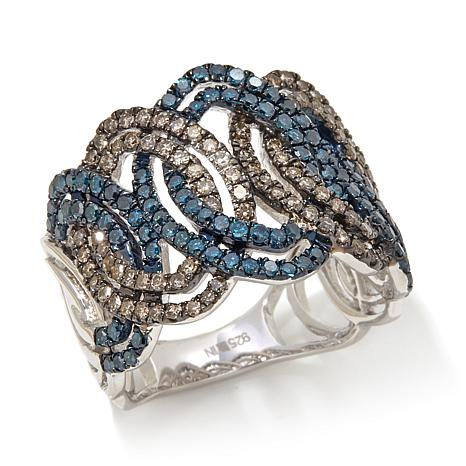 1.02ctw Blue and Champagne Diamond Marquise Ring