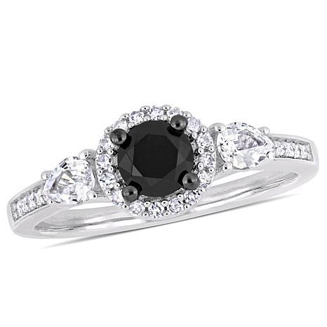 10K  Black and White Diamond and White Sapphire Round Halo  Ring
