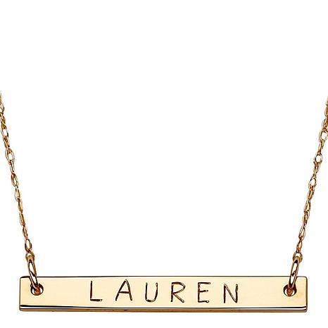 "10K Gold Mini Bar Engraved Name 18"" Necklace"