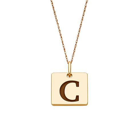 10K Gold Single Initial Square Pendant with Chain