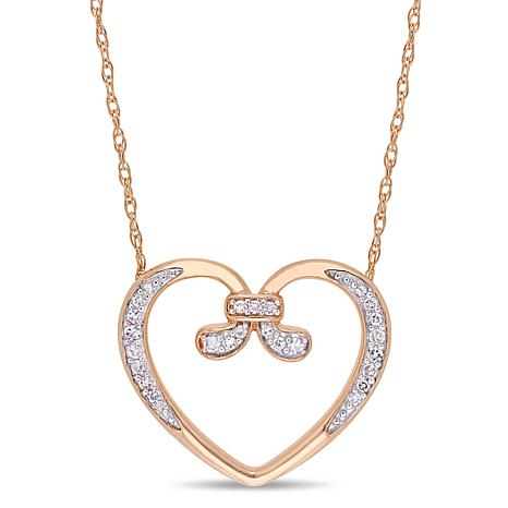10K Rose Gold 0.10ctw Diamond-Accented Swirl Heart Drop Necklace