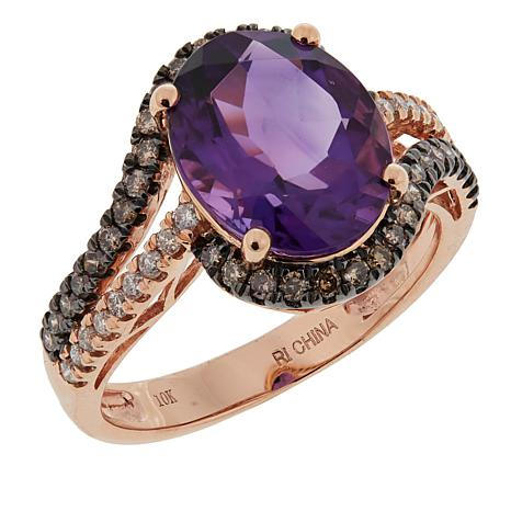 10K Rosee Gold 3.67ctw Amethyst and Champagne and White Diamond Ring