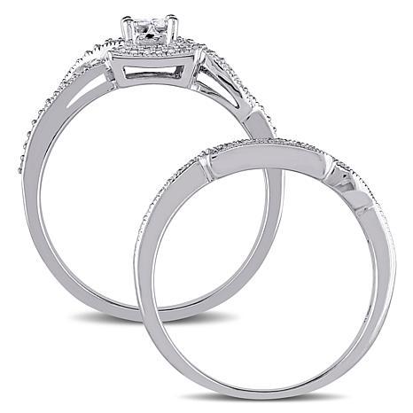 10K White 0.3ctw Princess and Round Diamond Bridal Set