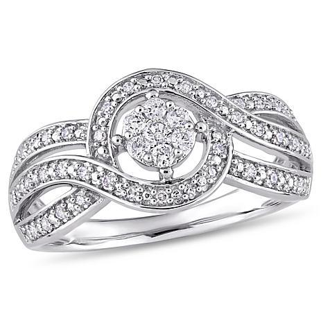 10K White Gold 0.25ctw Diamond Twist-Design Engagement Ring