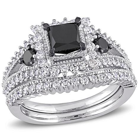 10k white gold 18ctw black white diamond bridal set - Black Diamond Wedding Ring Sets