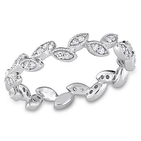 "10K White Gold .22ctw Diamond ""Leaf"" Semi-Eternity Band Ring"