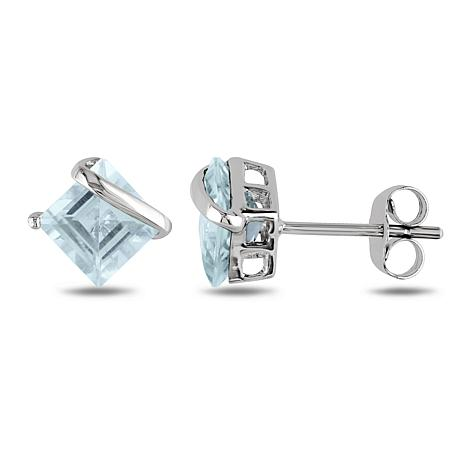 10K White Gold 2ctw Square Aquamarine Stud Earrings