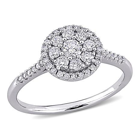 10K White Gold .5ctw Diamond Cluster Halo Engagement Ring