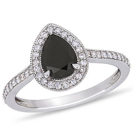 10K White Gold Black and White Diamond Double Teardrop Ring