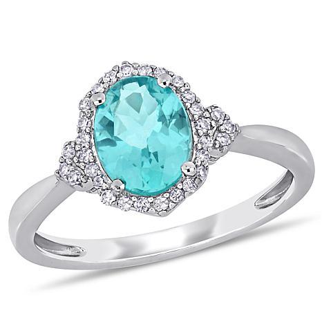 10K White Gold Diamond and Apatite  Halo Ring