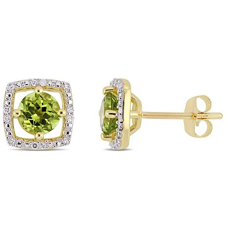 10K Yellow Gold 1.19ctw Peridot and Diamond Stud Earrings