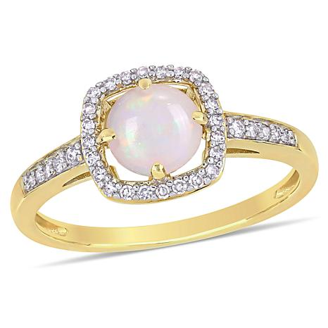 10K Yellow Gold Opal and Diamond Halo Ring
