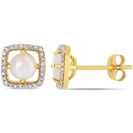 beaf313f3 10K Yellow Gold Opal and Diamond Stud Earrings - 9150321 | HSN