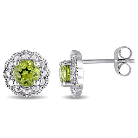 1.12ctw Peridot 10K White Gold Flower Stud Earrings