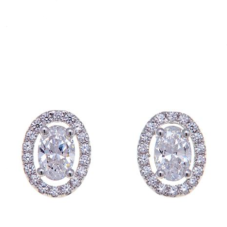 1.18ctw Absolute™ Oval and Pavé Stud Earrings