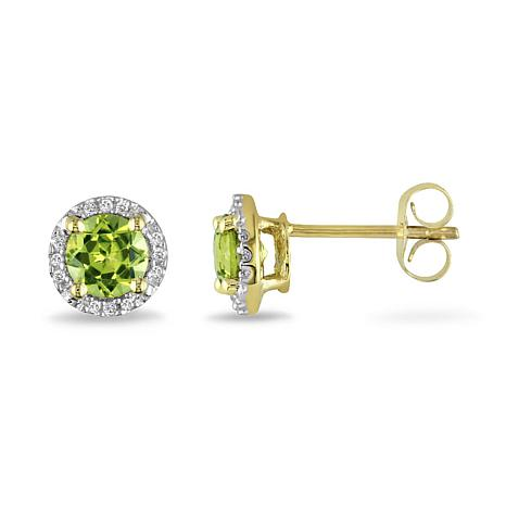 a2c18b8a06313 1.19ctw Peridot and Diamond 10K Yellow Gold Halo Stud Earrings