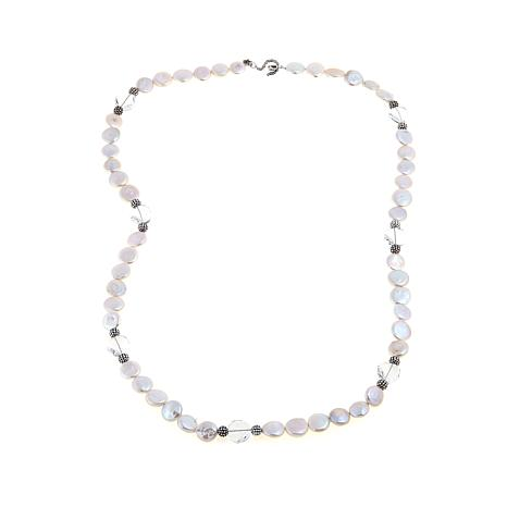 12-13mm Freshwater Pearl and Crystal Station Necklace