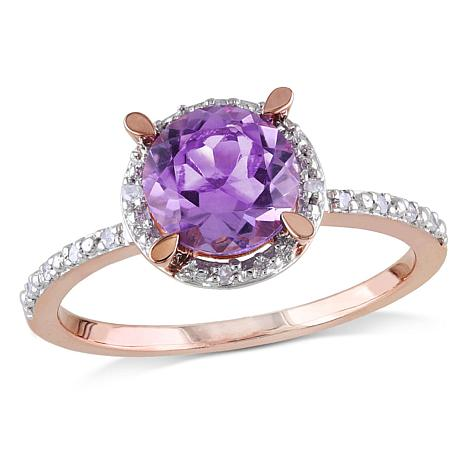 1.34ctw Amethyst and Diamond 10K Rose Gold Halo Ring