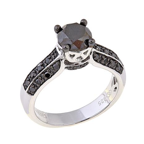 1.40ctw Black Diamond Sterling Silver Ring
