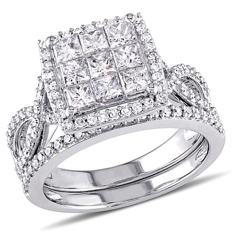 1 49ctw Princess And Round White Diamond 10k White Gold Wedding Ring