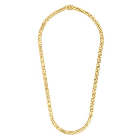 """14K 7.25mm Semi-Solid Miami Cuban Chain Necklace with Figure 8 - 24"""""""