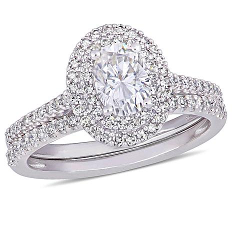 14K Gold 0.75ct Moissanite and 0.34ctw Diamond 2-Ring Bridal Set