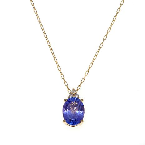 14K Gold 1.29ctw Tanzanite and White Zircon Pendant