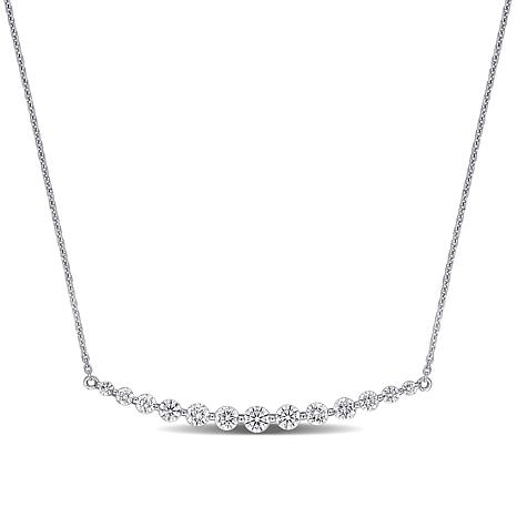 14K Gold 1ctw Diamond Curved Bar Necklace