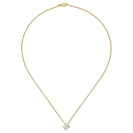 """14K Gold 2ctw Moissanite Cushion-Cut Pendant with 18"""" Chain"""