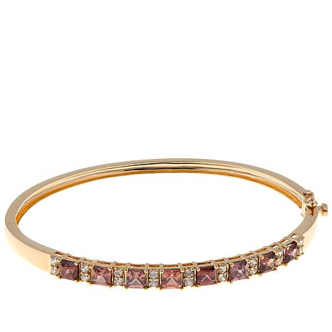 14K Gold 5.06ctw Brown and White Zircon Bangle Bracelet
