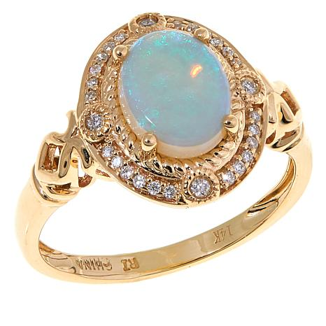 14K Gold Australian Opal and White Diamond Oval Ring