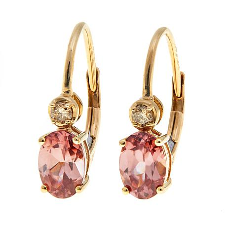 257db50f6 14K Gold 1.9ctw Pink Zircon and Champagne Diamond Drop Earrings - 8450528 |  HSN