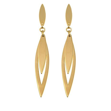14K Gold Elongated Double Marquise Drop Earrings