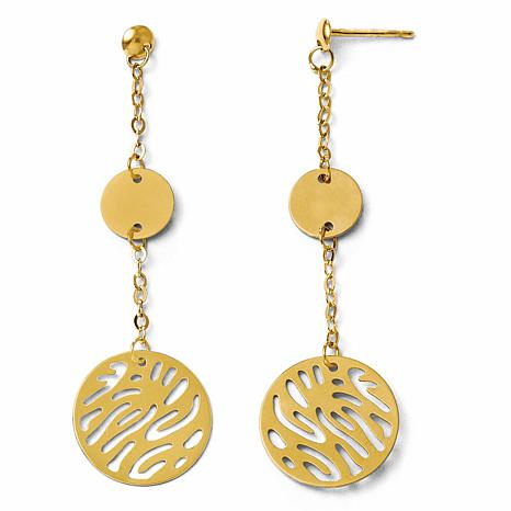 14K Gold Fancy Round Dangle Earrings