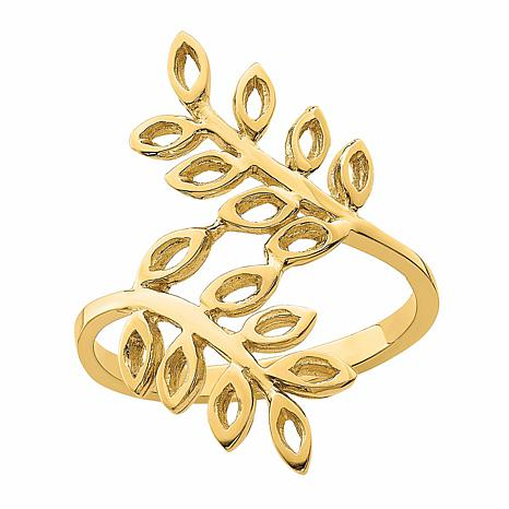 14K Gold Leaf Bypass Ring