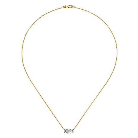 14K Gold Radiant-Cut 3-Stone Moissanite Pendant with Chain