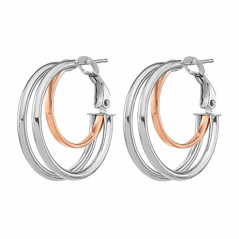 "14K Rose and White Gold 1-7/16"" Inner and Outer Tube Hoop Earrings"