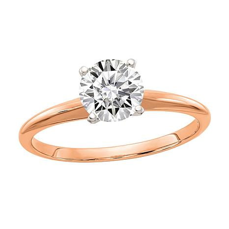14K Rose Gold 1ct Moissanite Round-Cut Solitaire Ring